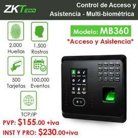 MB360 - Terminal Multi-biométrica para Gestión de Asistencia y funciones de Control de Acceso.