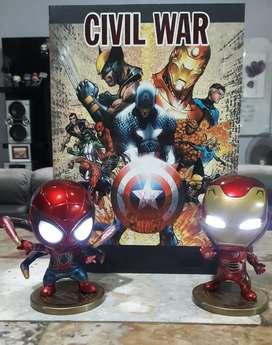 LOTE Spiderman & Iron Man Tipo Shibi Luz Led Motu Saint Seiya Ps tmnt heman marvel legends