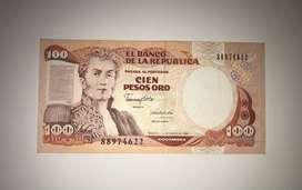 BILLETE 100 PESOS ORO 1/ENE/1990 COLOMBIA