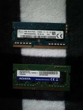 Memorias ram de laptop ddr3 de 4g y 2g