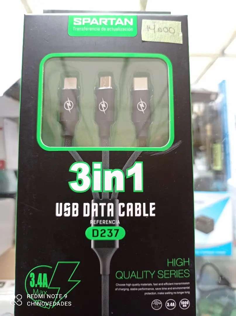 Cable de datos 3 en 1 iphone tipo c y V8