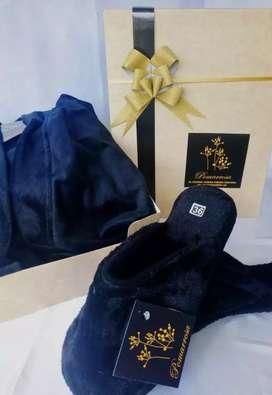 Bata para caballero + pantuflas piel de conejo muy cómodas y elegantes, envío gratis pago contraentrega