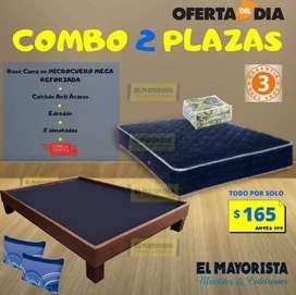 oferta en CAMA BASE 2 Plazas + COLCHÓN anti ÁCAROS + EDREDÓN Por 165 Usd