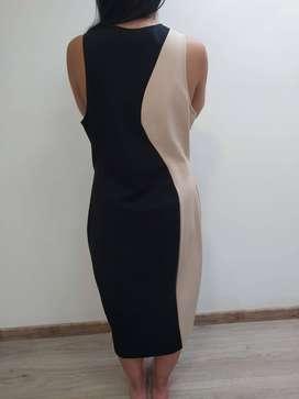 Vestido largo combinado negro y beige