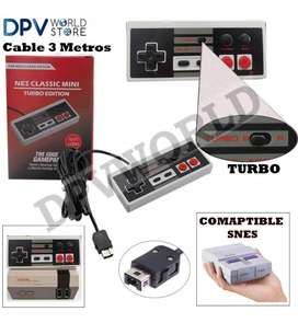 Control Super Nintendo Mini Nes Snes Turbo Edicion Cable 3m
