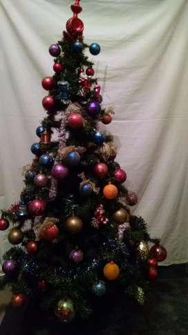 Árbol De Navidad 1.8/1.6m D0.85m Con Adornos