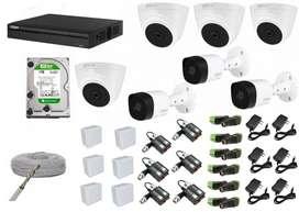 Kit de 7 camaras de seguridad domo y bala 1080p 2 mp HD Dahua Full HD