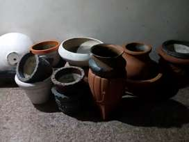 Macetas de cemento usadas varias