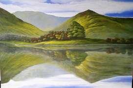 Cuadro paisaje reflejado en agua 2019