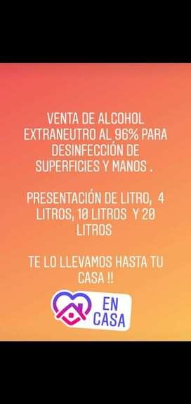 Venta de alcohol al 96%