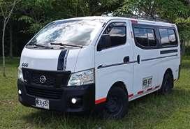 NISSAN URVAN NV 350, Modelo 2014, color blanca, servicio público especial, 187.000 KM, 16 Pasajeros.