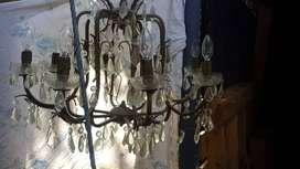 lampara linda en bornce y cristal de 8 luces