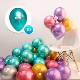 Globos Espejo Cromado Metalizado X50 Decoración Fiestas (Multicolor)