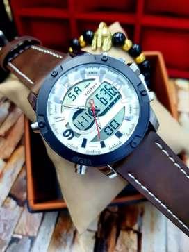 Reloj pulso en cuero, doble hora