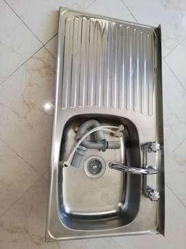 lavaplatos acero con accesorios