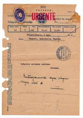 TELEGRAMA ANTIGUO URGENTE 1940