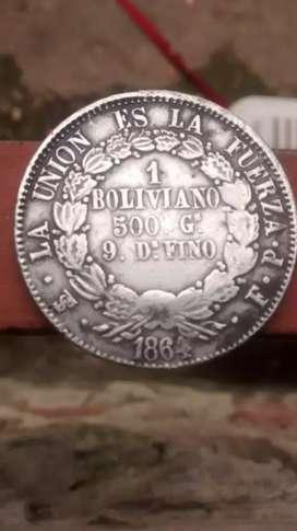 Moneda de plata del año 1864