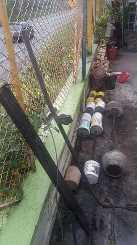 Pesas hechas de cemento