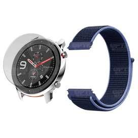 KIT Correa Pulso Manilla banda tipo velcro tela suave Nailon y Vidrio templado Reloj Smartwatch Xiaomi Amazfit Gtr