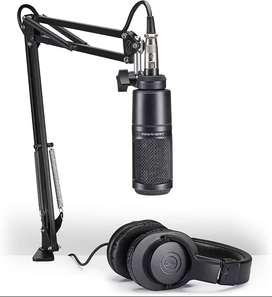 AUDIO-TECHNICA AT2020PK PAQUETE DE MICRÓFONO DE ESTUDIO AT2020 CON ATH-M20X, BOOM Y CABLE XLR Audio-Technica