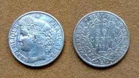 Moneda de 50 céntimos de plata Francia 1894