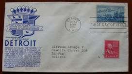 Sellos postales sobre 1 día Fundación de Detroit 1951