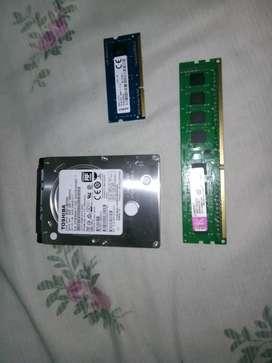 Vendo disco duro de 500 de laptop u memoria ram de 4 GB DDR3 de laptop y de pc