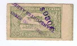 """SELLO SCADTA 50 CENT - RESELLO SOBRE CARGA""""$ 030 C"""" CANCELACION LINEAL AÑO 1921,,OFERTA"""