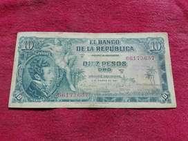 Billete de 10 pesos, 1961