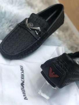 Zapatos mocasines sport EMPORIO Armani negros cuero