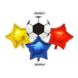 Bouquet tricolor con un globo en forma de balón y tres de estrellas