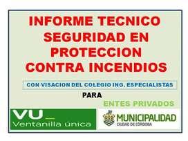 INFORME TECNICO DE SEGURIDAD EN PROTECCION CONTRA  INCENDIOS PARA VENTANILLA ÚNICA DE LA MUNICIPALIDAD CBA-TERMOGRAFIAS