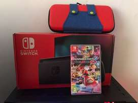 Nintendo switch 2019 + Mario kart + funda + carcasa