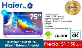 """TELEVISOR HAIER 75"""". TV 4K. GENERAL ELECTRIC. UHD. ANDROID. HDMI"""