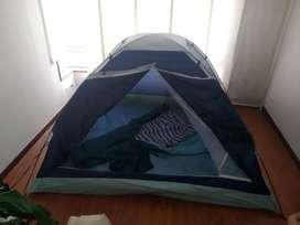 carpa de 3 personas + cama de camping + 2 sillas camping. 130 mil
