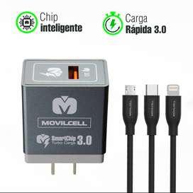 Movilcell Cargador SmartChip3.0 MV-500 carga rápida mejor que el original