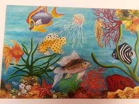 Cuadro en oleo (representacion de peces)