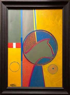 Silueta de Perseo, Maestro Edilberto Sierra, técnica mixta sobre lienzo, grande.