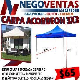 CARPA 3X3 ACORDEÓN ESTRUCTURA REFORZADA