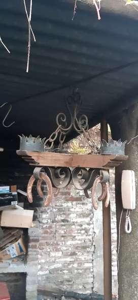 Araña rustica 4 lamparas