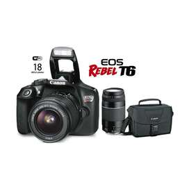 Canon Rebel T6 pack Camera 2 lentes bolsa ordginal cargador32gb sd