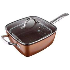 Sartén cuadrado 24cms incluye rejilla fritar sirve estufa induccion