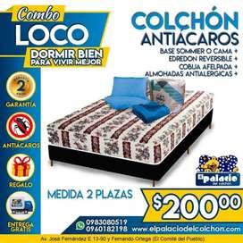 CAMA mas COLCHONES 2 Plaza ANTIACAROS mas CAMA DE MADERA mas EDREDÓN COBIJA ALMOHADAS ENTREGA *LLAME PALACIO DEL COLCHÓN