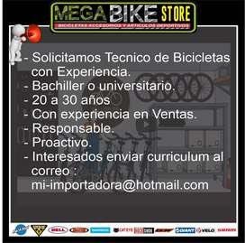 se solicita tecnico mecanico de bicicletas