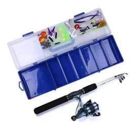 Kit de pesca caña, carrete, maleta +accesorios