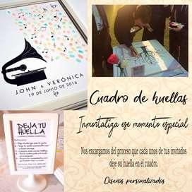 Cuadro De Huellas  o cuadro de firmas para Matrimonios 15 Años Bautizos Y Mas Eventos