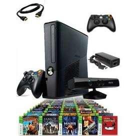 Xbox 360 slim 250 gb  con chip, dos controles  guitarra  kinect  20 juegos