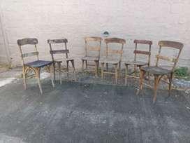 6 sillas antiguas de campo