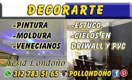 Decorarte realizamos trabajos de pintura estuco Drywall PVC