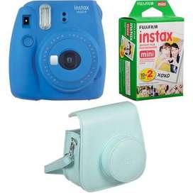 Cámara Combo Fuji Instax Mini 9 Instantánea Fujifilm Azul Cobalto + 20 láminas de fotografía + Estuche